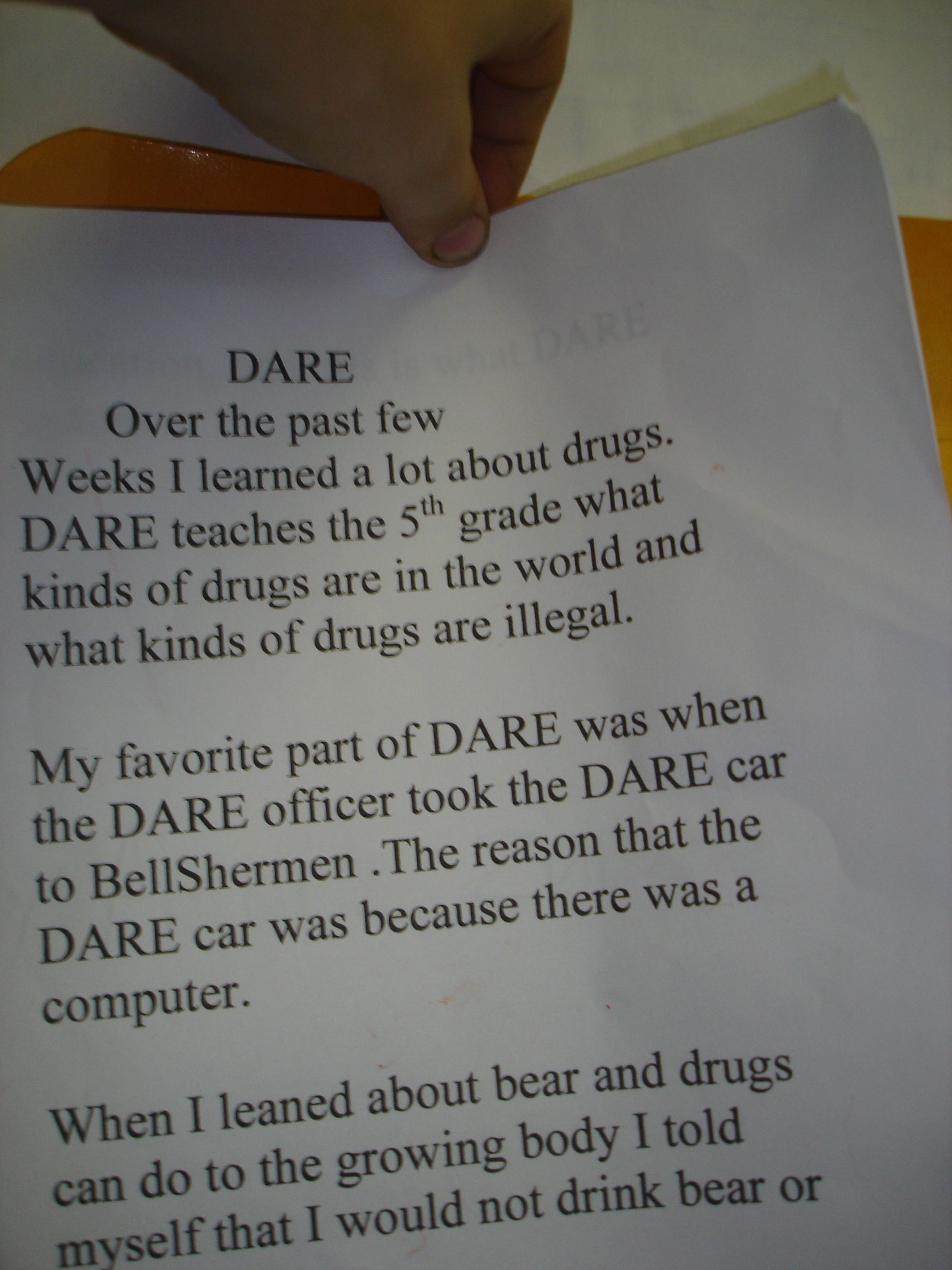 5th Grade Dare Report Essay Examples